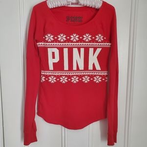 VS PINK Red Waffle Long-sleeve T-shirt